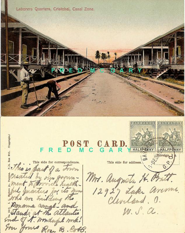 1909 Cristobal Canal Zone PC: Laborers Quarters, Stamped