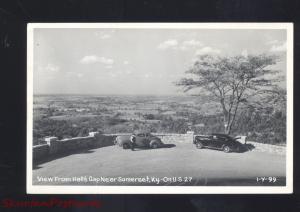 RPPC HALLS GAP SOMERSET KENTUCKY 1940's CARS VINTAGE REAL PHOTO POSTCARD