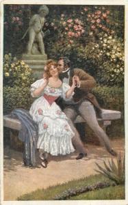 Vintage Czech R. art postcard lovers romance kiss couple cupid statue