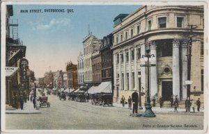 SHERBROOKE Que CANADA - MAIN STREET view 1920s era / Policeman + old cars