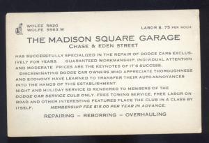 BALTIMORE MARYLAND THE MADISON SQUARE GARAGE VINTAGE ADVERTISING POSTCARD