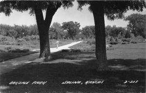 Salina Kansas~Oakdale Park Scene~Pathway-Gardens-Trees~Saline County~1940s RPPC