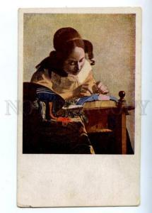 157683 Stitching Girl by VERMEER vintage colorful PC