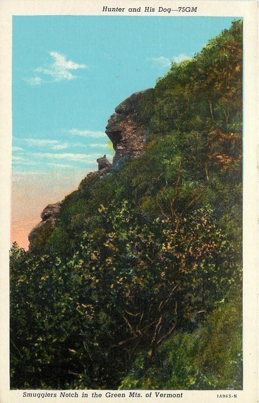 Green Mts Vermont~Hunter And His Dog Rock Formation~Smugglers Notch~1931 PC