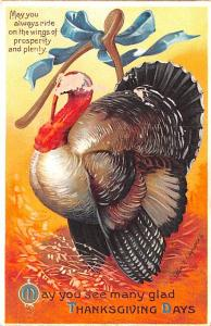 Artist Ellen Clapsaddle Thanksgiving  paint chips on front of card