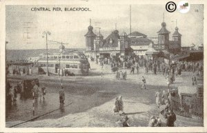 Central Pier, Blackpool London Street Scene British Double Decker Bus Postcard