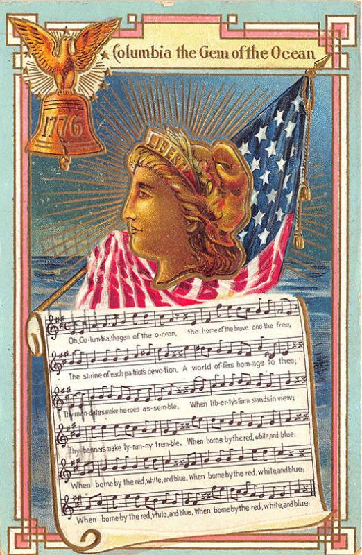 Patriotic Columbia the Gem of the Ocean Music Miss Liberty Postcard