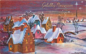Winter Holidays picturesque winter scenery night aspect New Year greet Postcard