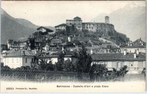 BELLINZONA, Switzerland   CASTLE & VILLAGE   c1910s  Postcard