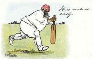 Lance Thackeray It Is Not So Easy 1970s Cricket Comic Humour Postcard