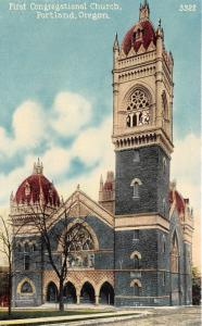 Portland Oregon~First Congregational Church~Majestic-Colorful Building~c1910 Pc