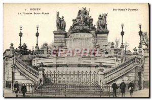 Old Postcard Rouen La Fontaine Saint Mary