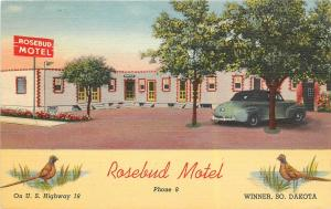 Rsebud Motel, Hwy 18, Winner, SD Linen Postcard