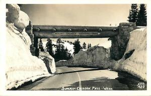 Snow Scene Summit Chinook Pass WA Washington Real Photo PC