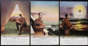 WW1 HOW SWEET THE NAME OF JESUS SONDS Bamforth Song Cards set of 3 No 5034/1/2/3