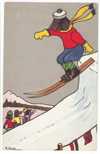 Dachshund Dogs Skiing Dog Being Cheered Signed K. Hesse Postcard