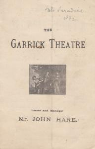 A Fools Paradise My Daughter John Hare Drama Victorian Garrick Theatre Programme