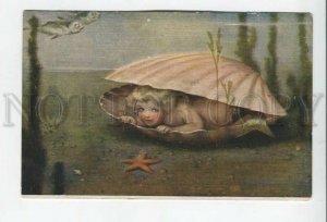 432931 MERMAID Pearl by Bessie Pease GUTMANN Vintage Russian Fedorov postcard