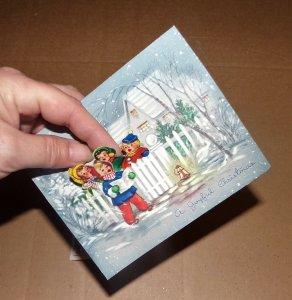 Vtg Christmas Card 3D Children Carolers Caroling 1951 Boys Town Nebraska Seal