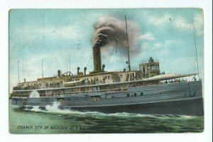 Postcard Steamer City Of Mackinac Of D & C Line Posted 1909 VPC01.
