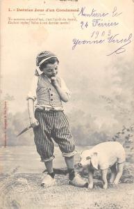 1. Dernier Jour d'un Condamne, Piglet Pig, Child, Boy, Knife 1903