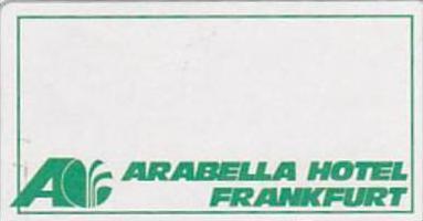 GERMANY FRANKFURT ARABELLA HOTEL VINTAGE LUGGAGE LABEL