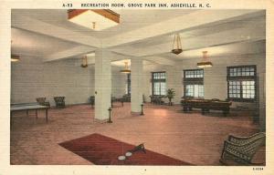Asheville NC~Grove Park Inn~Recreation Room: Ping Pong~Pool Table~Billiard~1940s
