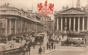 London.The Bank and Royal  Exchange. Horse-cars  Tuck Heraldic View PC