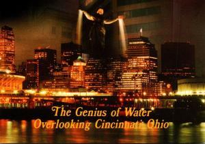 Ohio Cincinnati Skyline At Night With Genius Of Water At Fountain Square