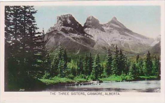 Canada Alberta Canmore The Three Sisters RPPC