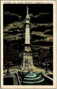 1930s Indianapolis, Ind. Postcard Soldiers' and Sailors' Monument Night KROPP