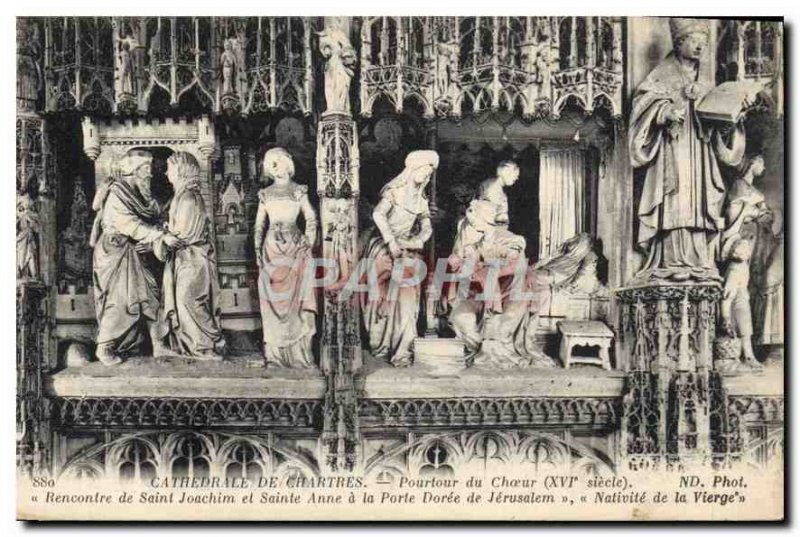 Postcard Old Cathedral of Chartres Choir Circumference