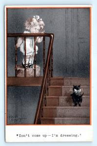 Postcard A/S Fred Spurgin Girl to Cat Don't Come Up I'm Dressing 1913 J12
