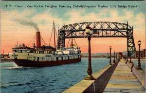 Michigan MI Great Lakes Freighter Duluth Superior Harbor Postcard Old Vintage PC