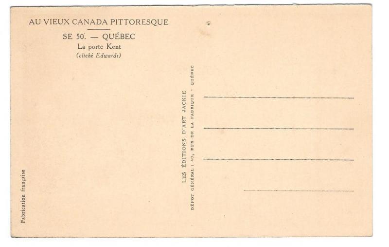 Canada Quebec La Porte Kent Gate Vtg Jackie Postcard