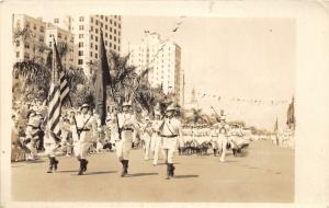 F15/ Parade Real Photo RPPC Postcard c1930s Patriotic Soldiers Flags 7