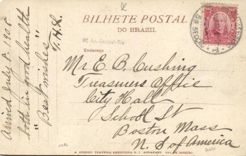 brazil, RIO DE JANEIRO, Ministerio da Industria (1908) Stamp