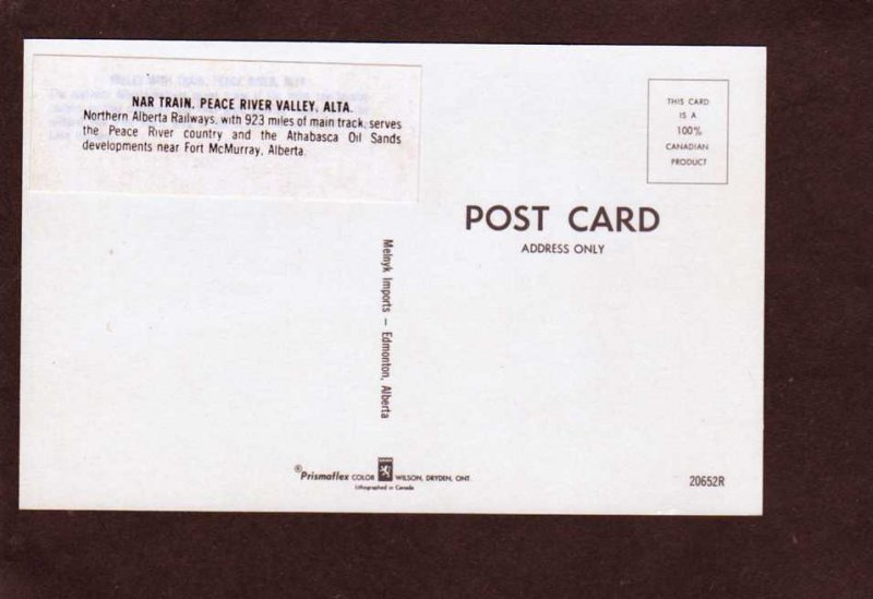 AB Northern Alberta Peace River Valley Railroad Train Carte Postale NAR Canada