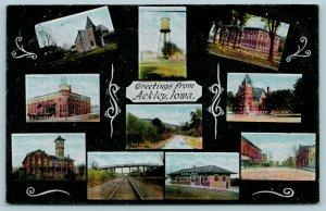 Ackley IA Art Nouveau~Water Tower, ME Church~RR Depot & Bridge, Main St c1908 PC