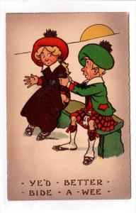 Ye´d better bide a wee, Scotish man persuading lady to sit next to him on ...