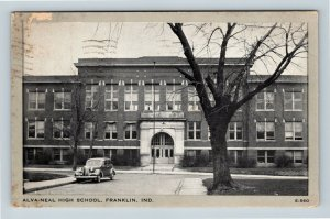 Franklin IN, Alva-Neal High School, Arched Entrance, Chrome Indiana Postcard