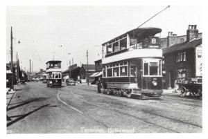 Oldham Postcard Tram Terminus, Hollinwood 1920s Lancashire Reproduction Card Q58