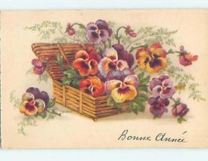 1948 foreign BEAUTIFUL PANSY FLOWERS IN WICKER BASKET HL7532