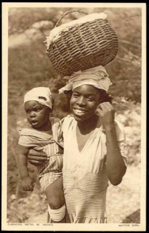 curacao, N.W.I., Native Black Girl with Baby (1940s)