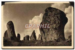 Old Postcard Dolmen Menhir Carnac alignments Menec Ker