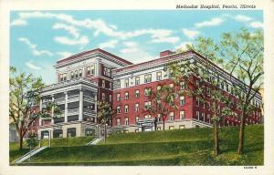 Peoria Illinois~Methodist Hospital on Hill~2 Flights Steps Up Lawn~1940 Linen PC