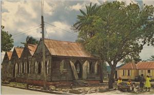 All Saints Village, Antigua - Sidewalk vendors in front of old schoolhouse 1960s