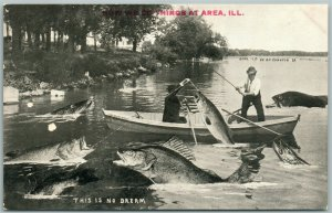 AREA ILL FISHING EXAGGERATED ANTIQUE POSTCARD