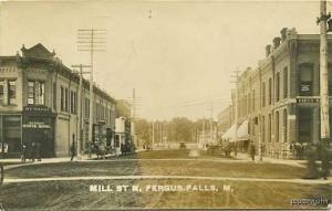 Fergus Falls MN Street Vue Dentist RPPC Postcard