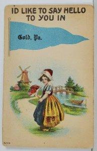 PA Darling Dutch Girl Say Hello In GOLD PENNSYLVANIA 1915 Postcard Q10